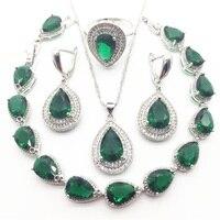 Australia Crystal Water Drop Silver 925 Jewelry Sets For Women Bracelet Earrings Necklace Pendant Rings