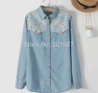 2015 New Fashion Autumn Spring Women And Lady S Cotton Jeans Floral Shirt Long Sleeve Korea