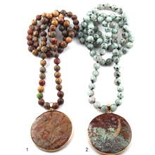 New Fashion Bohemian Jewelry Blue Natural Stone Knotted Multicolor Stone Round Pendant Women Necklaces Free Shipping