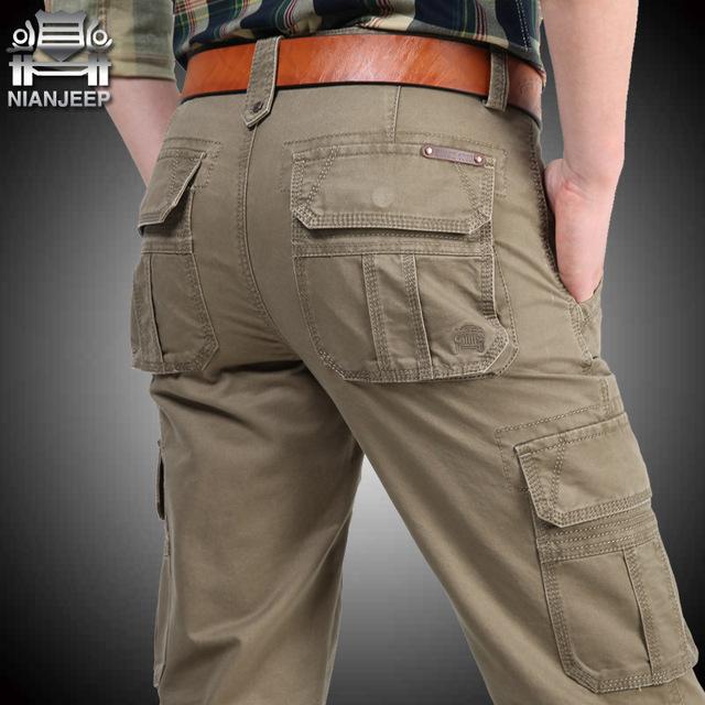 NIANJEEP Nueva Llegada Del Otoño Invierno Pantalones de Carga 100% Algodón Sueltos militar Verde Del Ejército de Los Hombres Chándal Más El Tamaño 30-38 40 42 A3069