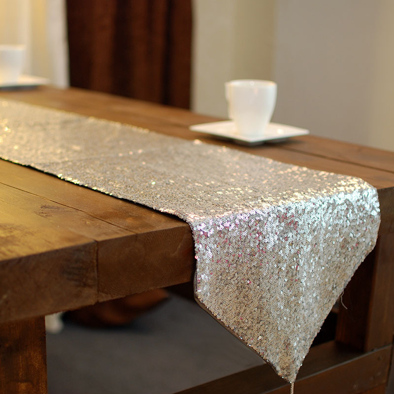 buy silver sequin table runners for wedding 100 polyester european luxury. Black Bedroom Furniture Sets. Home Design Ideas