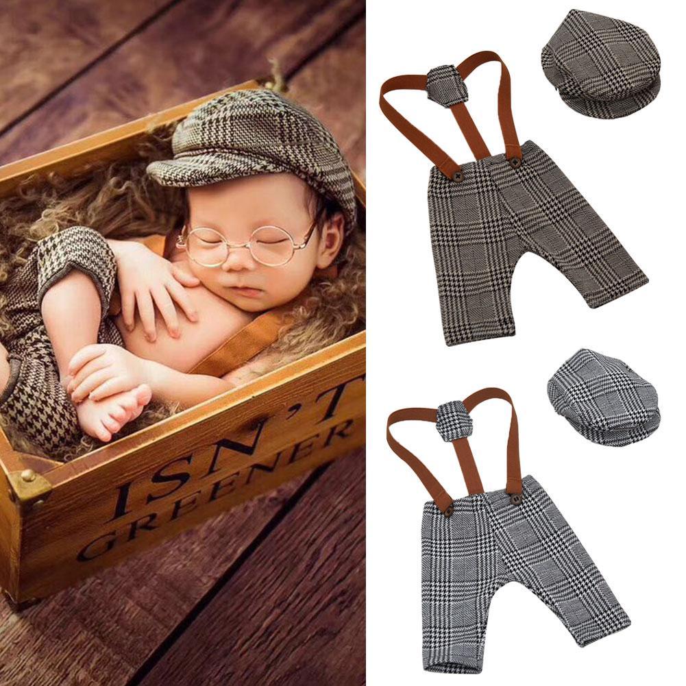 2Pcs Baby Newborn Retro Plaid Suspender Pants Peaked Cap Set Photograph Props For Baby Boy Girls