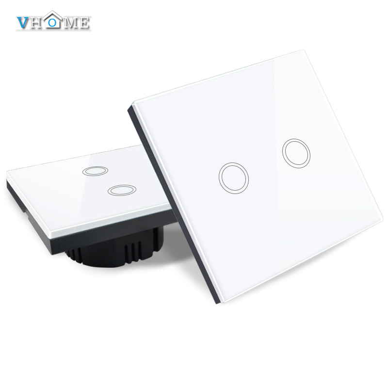 EU/UK Standrad Vhome Remote Controller 2 gang 1 way Crystal Penal Glass Touch Lamp Wall Light switch 220V smart Home Automation smart home eu touch switch wireless remote control wall touch switch 3 gang 1 way white crystal glass panel waterproof power