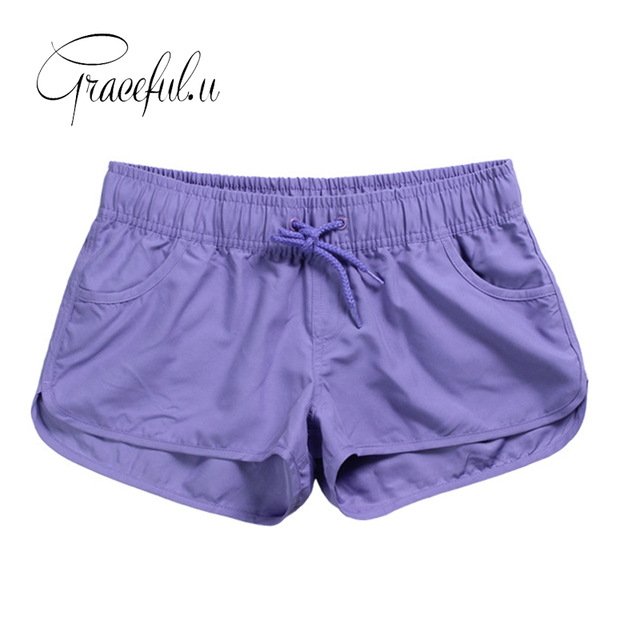 f5e4d749344 2019 New Women Swim Short Solid Color Quick Dry Womens Swimming Shorts  Beach Sportswear Board Shorts Swimsuit Women s Trunks