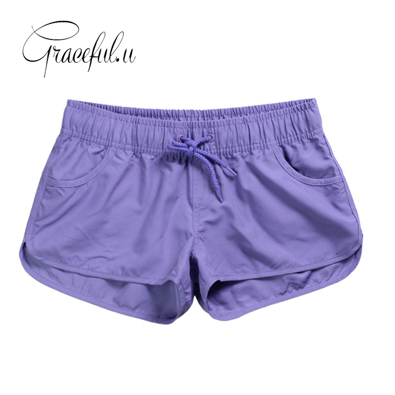 2019 New Women Swim   Short   Solid Color Quick Dry Womens Swimming   Shorts   Beach Sportswear   Board     Shorts   Swimsuit Women's Trunks