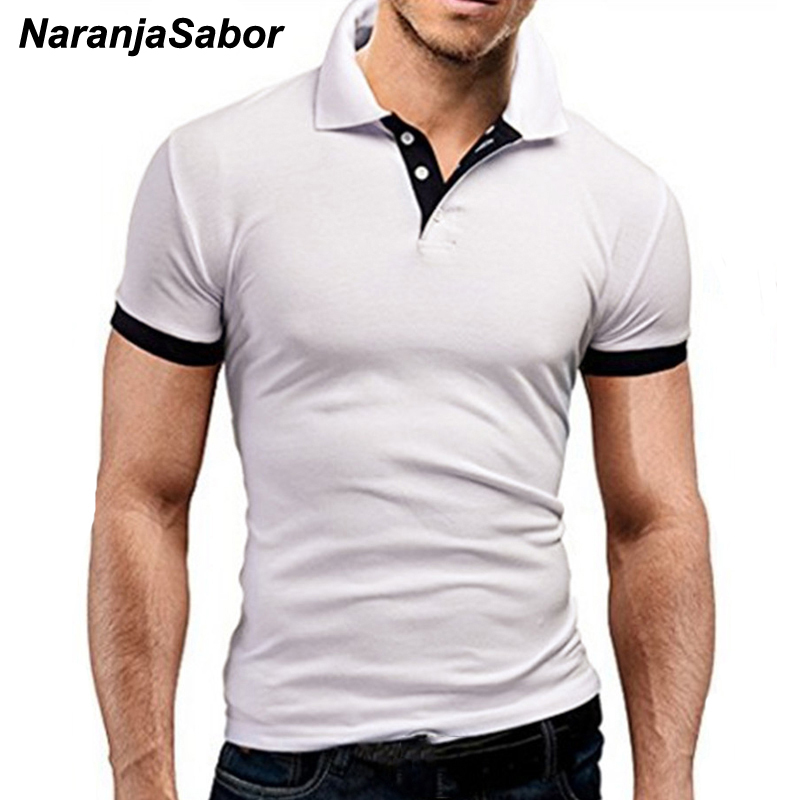 NaranjaSabor Men's Tops Summer New Tee Shirt Slim Fit Fashion Clothing Short Sleeve Stand Collar Tees Male Shirts 5XL N526