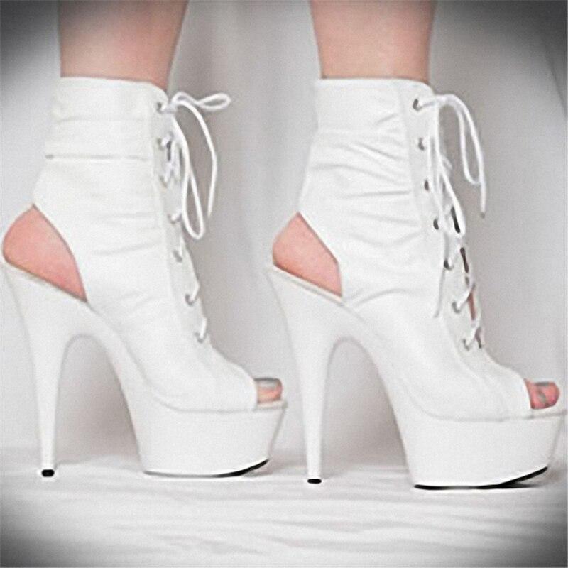 Weiche Zoll 15 Frühling Kurze Sexy Sommer Peep Ferse Leder Stiefel Schwarzes Damen Hohe Cm Coolen Schuhe 6 Toes Mode Frauen ttUOq17