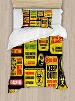 Зомби постельное белье Апокалипсис знаки внимания опасность безопасный точка зла фраза современного образа принтом 4 шт. Постельное белье