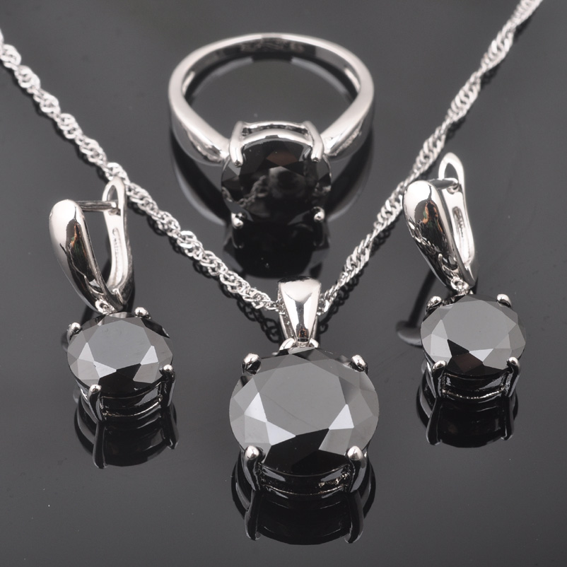 FAHOYO Classic Round Black Zircon Women's 925 Sterling Silver Jewelry Sets Earrings/Pendant/Necklace/Rings Free Shipping QZ0218(China)