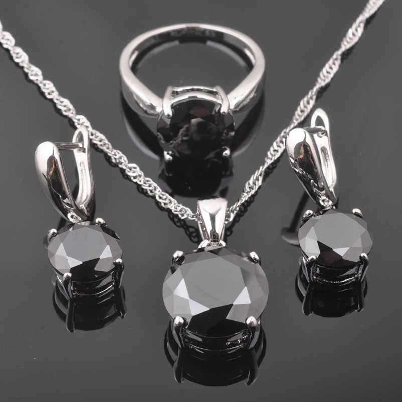 FAHOYO Classic Round Black Zircon Women's 925 Sterling Silver Jewelry Sets Earrings/Pendant/Necklace/Rings Free Shipping QZ0218