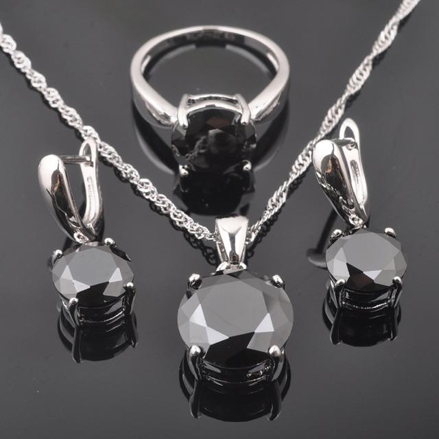 FAHOYO Clássico Round Black Zircon Conjuntos de Jóias das Mulheres 925 Sterling Silver Brincos/Pingente/Colar/Anéis Livre grátis QZ0218