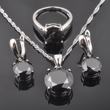 Round Black Zircon Silver Jewelry