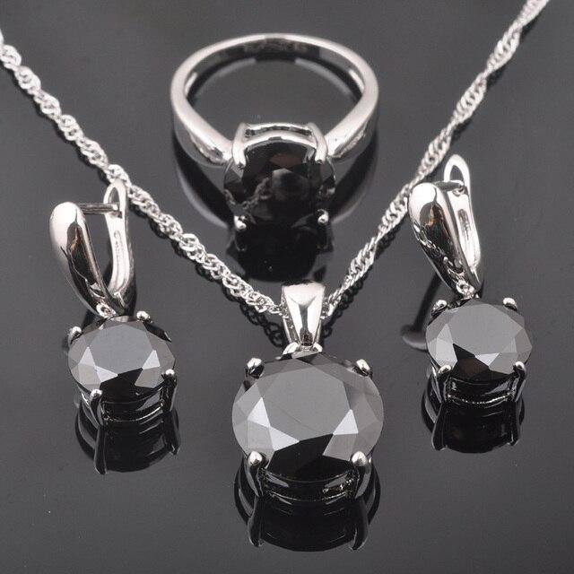 FAHOYO Rotondo Classico Nero delle Donne Zircone 925 Sterling Silver Jewelry Sets Orecchini/Pendente/Collana/Squilla Il Trasporto libero QZ0218