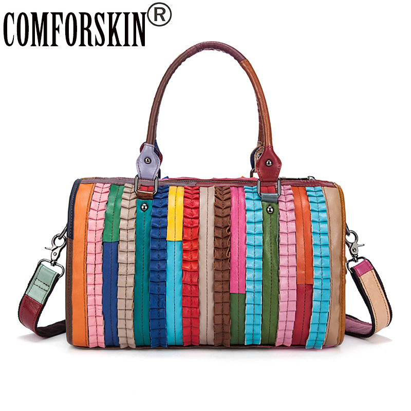 COMFORSKIN New Arrivals Embossing Women Leather Bag 2018 Guaranteed Cowhide Patchwork Colorful Totes Hot Fashion Women Handbag yuanyu 2018 new hot free shipping real python leather women clutch women hand caught bag women bag long snake women day clutches