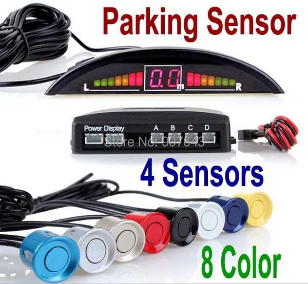 2014 Car LED Parking Sensor Kit 4 Sensors 22mm Backlight Display Reverse Backup Radar Monitor System 12V 8 Colors Free Shipping