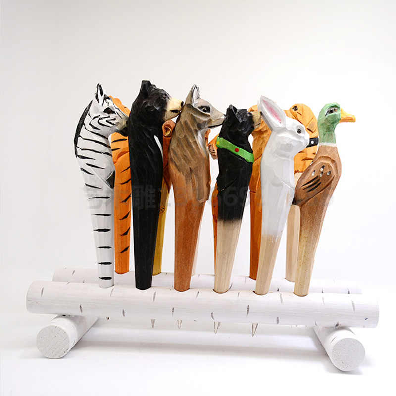 Handgemaakte Houten Dieren Carving Balpen Leeuw Tijger Hout Balpennen Voor Kunst Decoratie Kids Schrijven Geschenken Speelgoed Kantoor School Ballpoint Pens Aliexpress