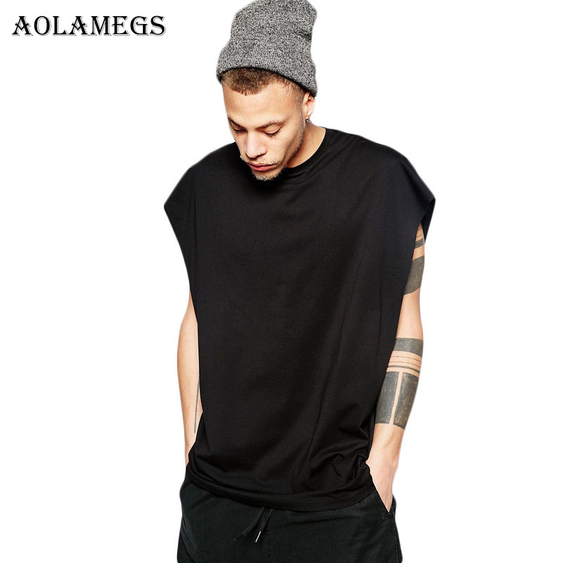 Aolamegs   Tank     Tops   Men Solid High Street Men's Vest Casual Fashion O-Neck Sleeveless Fitness   Tank     Top   Cotton Summer Clothing