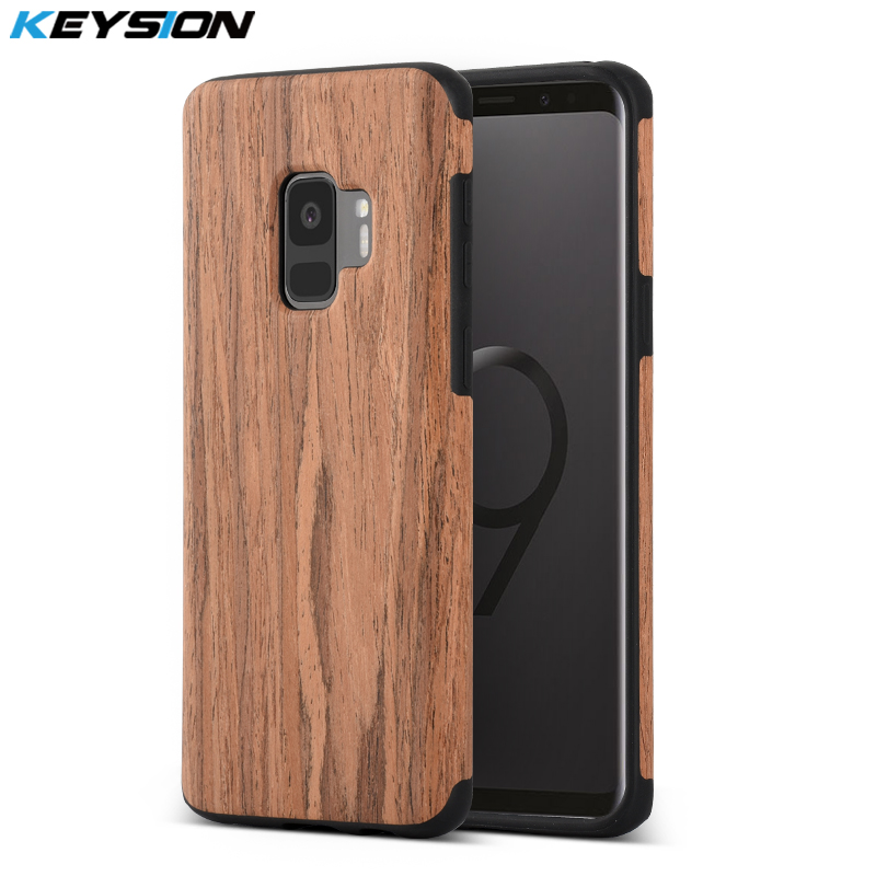 Galleria fotografica KEYSION Phone Case for Samsung Galaxy S9 S9 Plus Luxury vintage wood grain and TPU Anti-knock Protection Black Cover for S9 S9+