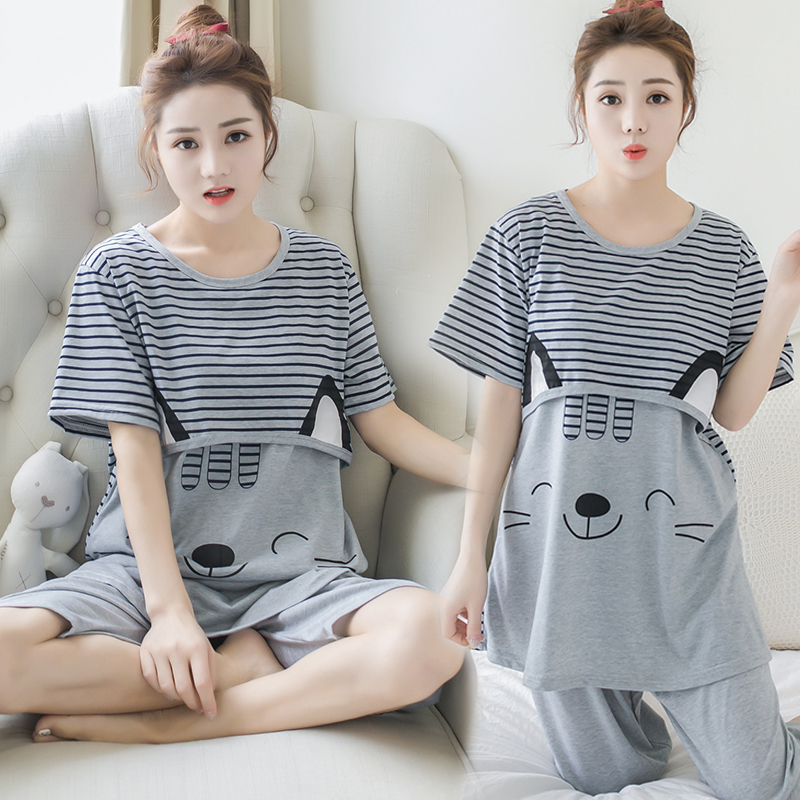 Summer Maternity Clothes Two Pieces Set Maternity Sleepwear Cartoon Breastfeeding Sleepwear Nursing Pajamas for Pregnant Women