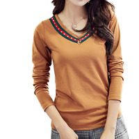 2017 Autumn Winter Fashion T Shirts For Women V Neck New Female Plus Size Tops Tee