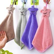 Cartoon Smile Hand Towel Children Microfiber Dry For Kids Soft Plush Fabric Absorbent Hang Kitchen Bathroom Use
