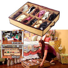 12 Pairs/Grids Transparent Shoes Storage Organiser Space Saving Under Bed(China)