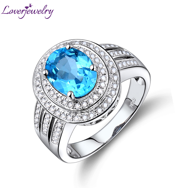 Solid 14Kt White Gold 448ct Diamond Blue Topaz Ring For Women