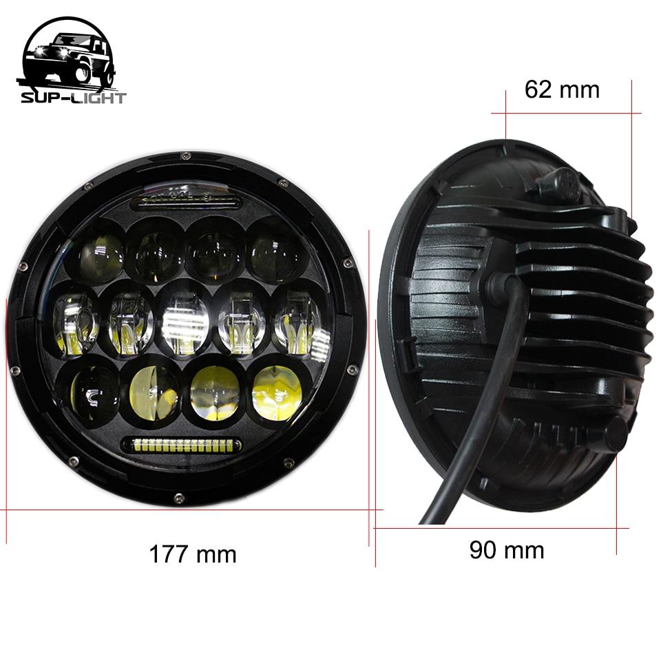 Hummer H1 H2  Pair 7 inch Round LED Headlights Black Hi//Lo Beam Black Lamps