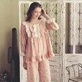2017 Nueva Otoño Mujer ropa de Dormir Camisón de La Princesa de La Vendimia de Las Mujeres de Algodón de Manga Larga Pijama Camisón Real