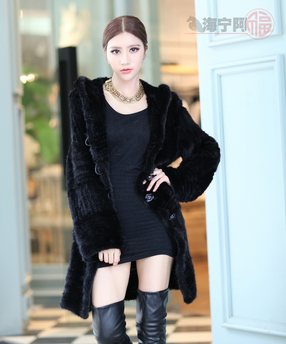 2016 Autumn Ladies Genuine Real Knitted Mink Fur Coats Jackets Winter Women Fur Fashion Hooded Outerwear
