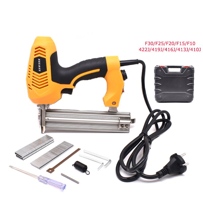 Adjustable Power 2 In 1 Framing Tacker Electric Nails Stapler Gun With 600Pcs Staples For Woodworking