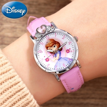 Disney Princess Series Sofia Girl Buckle PU Band Quartz Luxury Rhinestone Watches Kids Pink Waterproof Birthday Present Watch