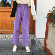 Women s Clothing Autumn Winter Corduroy Ankle Length Wide Leg Pants New Sweet Casual Solid loose
