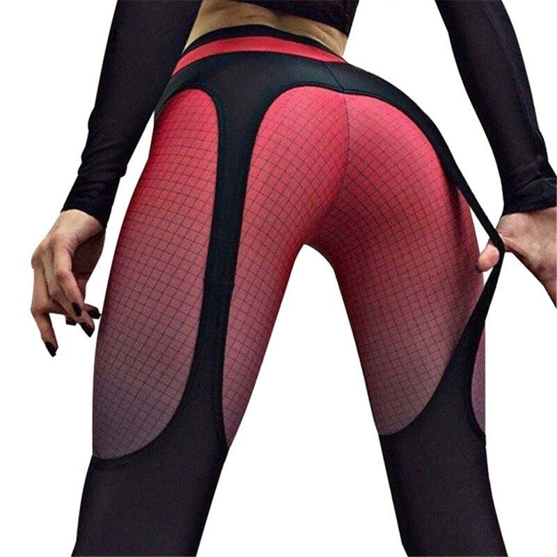 Leggings stitching print hips slim pants women Leggings with color grid prints 2019 Hot explosions fashion Fitness pants