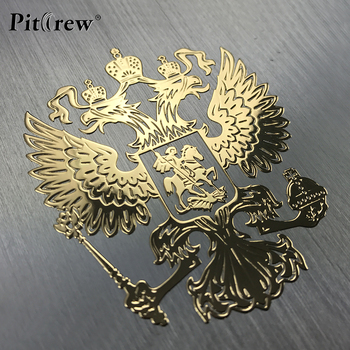 PITREW Coat of Arms of Russia Nickel Metal Car Stickers Decals Russian Federation Eagle Emblem for Car Styling