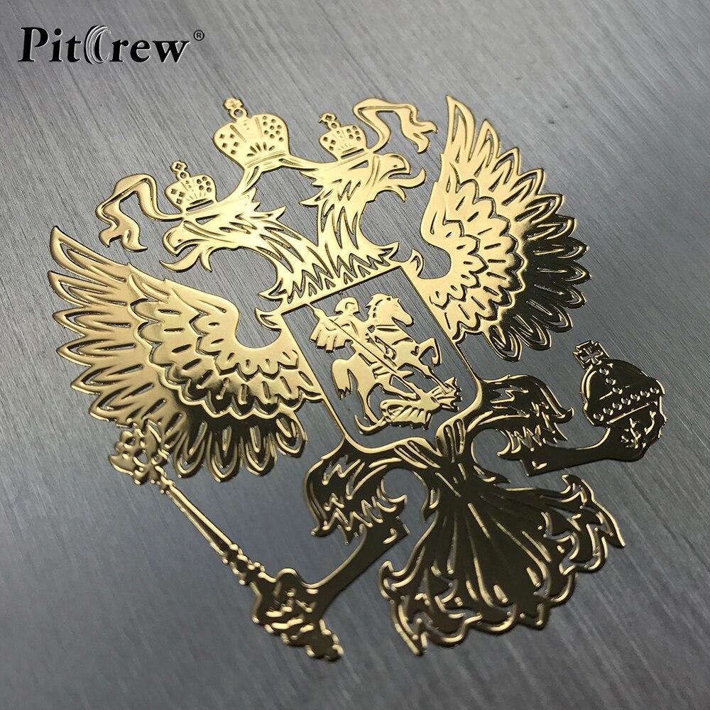 Pitrew Lambang Rusia Nikel Logam Mobil Stiker Decals Federasi Rusia Eagle Emblem untuk Mobil Styling Laptop Sticker
