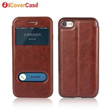 Leather Smart Case For iPhone 7 Flip Case Magnetic Cover For Apple iPhone X 6 6s 7 8 5 5S SE Plus cases luxury bussiness Coque(China)