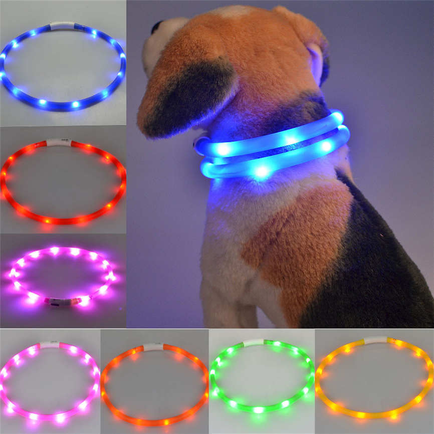 New Quality Rechargeable USB Waterproof LED Flashing Light Band Safety Pet Dog Collar S&L Dropshipping &925
