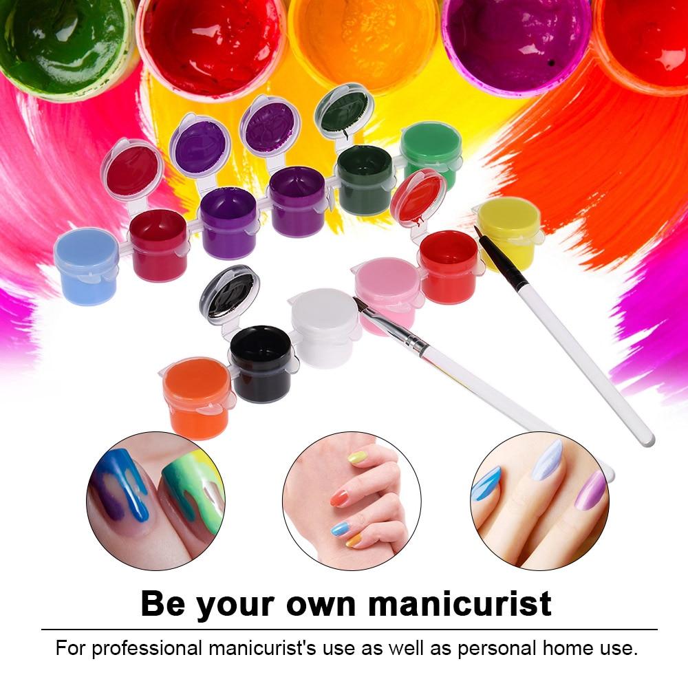 1 Set 12 Colors Painting Acrylic 3D Nail Art Paint Draw Glitter ...