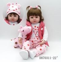 Лидер продаж 24 дюймов модные Стиль розовый одежда с олененком мягкая возрождается силиконовые Baby Born жив девушка куклы для подарок для девоч