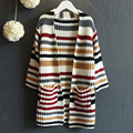 Fashion Autumn Girl Cardigan 2017 New Girl Long Sweater Striped Children Sweater coat