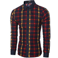 2016 Autumn New Men Plaid Long-sleeved Casual Shirts Contrast Slim Fit Style Shirt Dress Chemise Homme Camisa Social Masculina