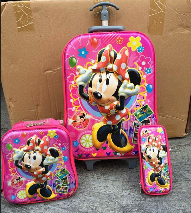 ФОТО New Mickey  child  luggage sets 5D EVA  travel suitcase wheel (lunch box + pen boxes+trolley luggage )