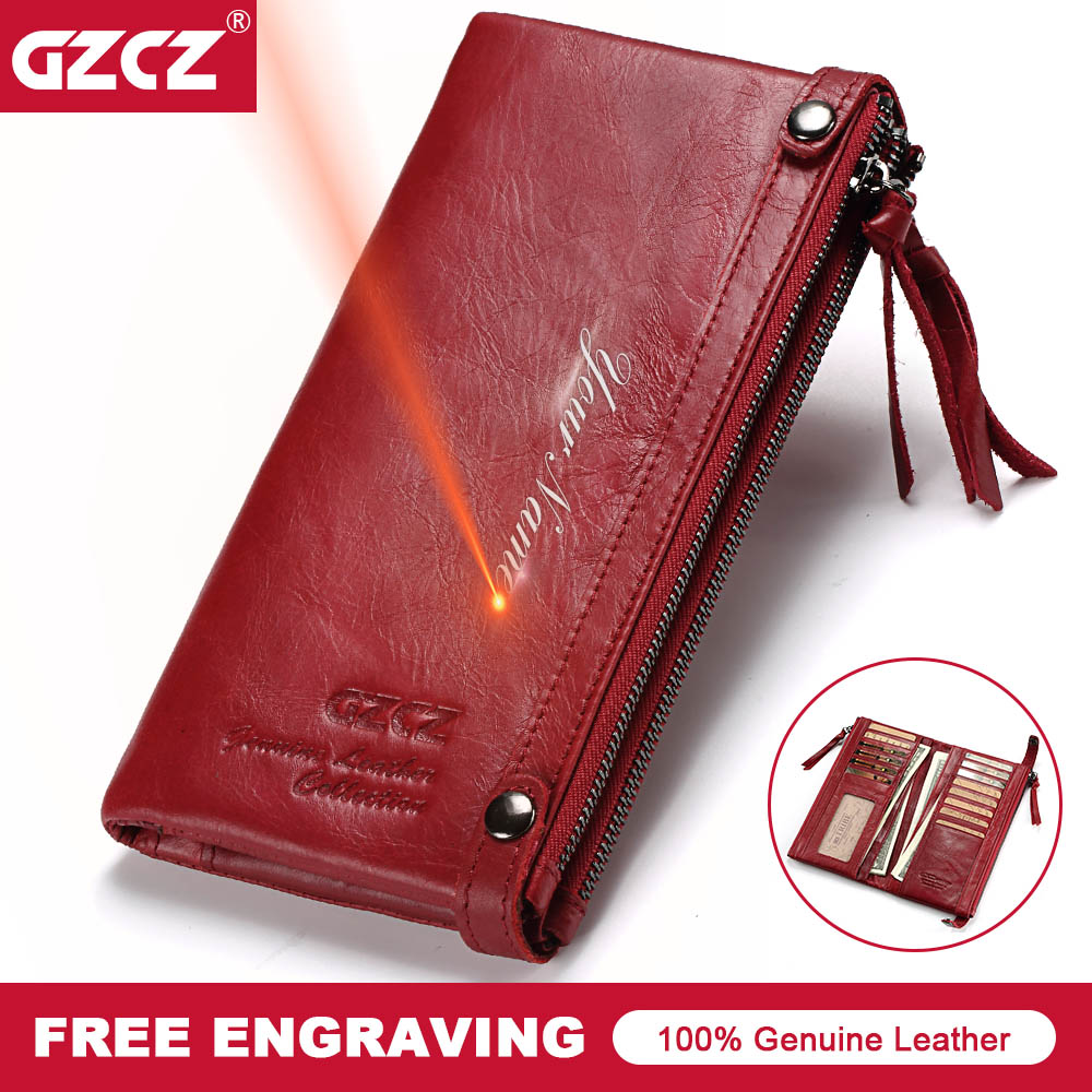 GZCZ Phone Bags Genuine Leather Wallets Luxury Brand 2018 New Design High Quality Fashion Girls Purse Card Holder Long Clutch