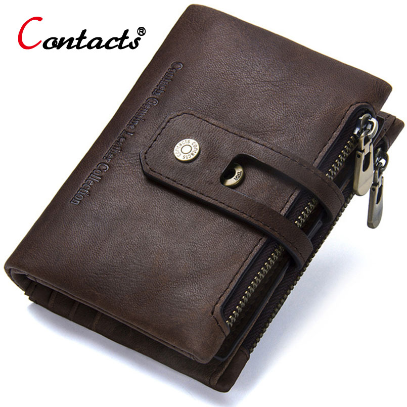 все цены на CONTACT'S Genuine Leather Wallet Men Card Holder Zipper Hasp Wallet Brand Coin Purse Male Clutch Credit Organizer Money Bag Gift