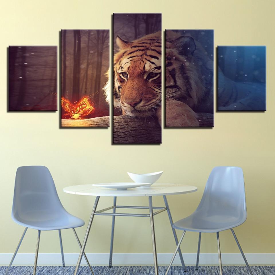 Bricolage diamant peinture kits 5 pièces brillant papillon Animal tigre chambre décor mur Art diamant broderie artisanat plein forage