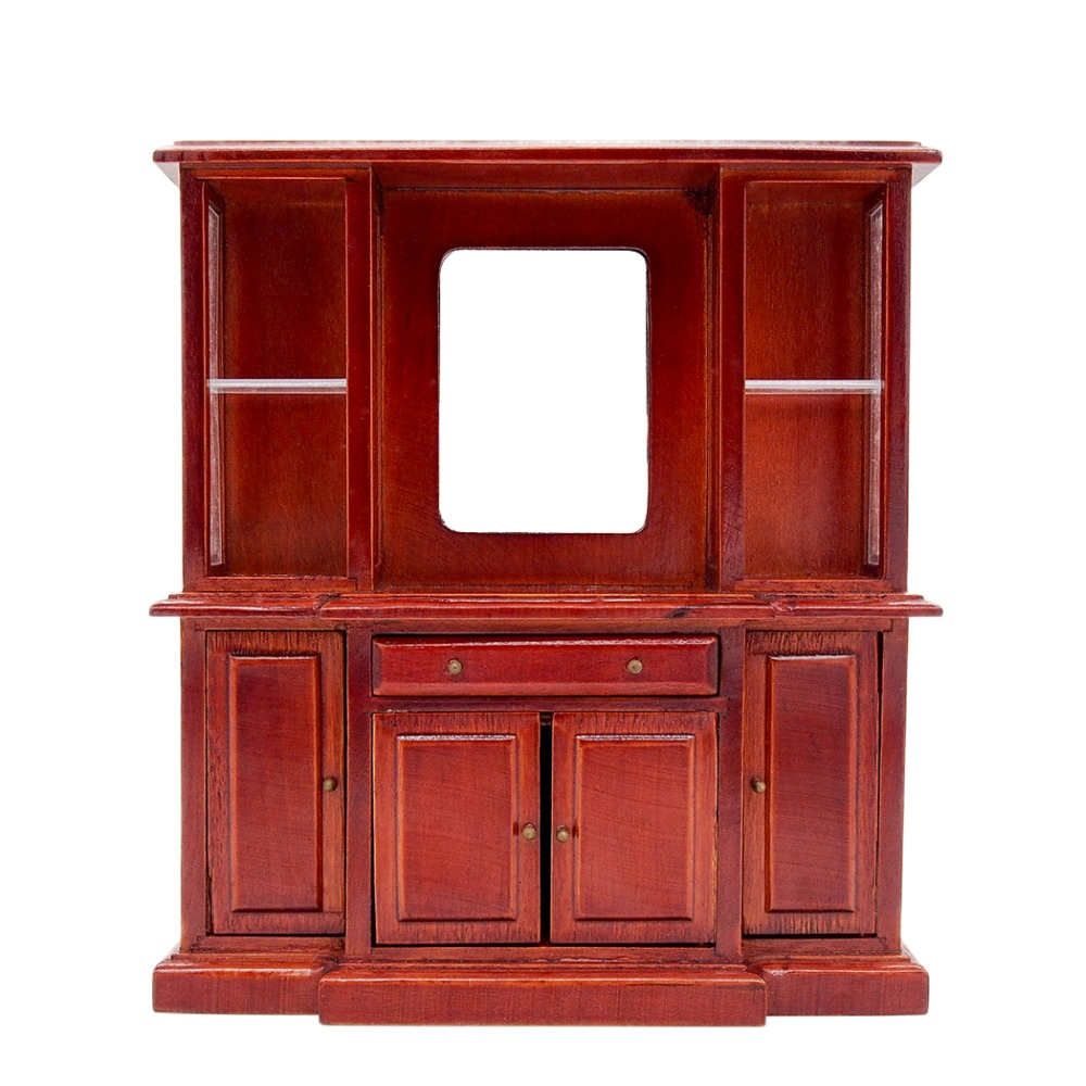 1//12 Dollhouse Miniature Living Room Wooden 4-Drawer Cabinet Furniture Brown
