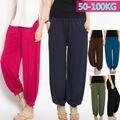 Plus Size de Grandes Dimensões Mulheres Ladies Modal Calças Causal Algodão Stretch Calças Soltas Bloomers Harem Baggy Macio 100 KG 204-122