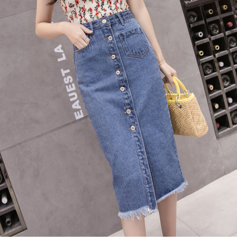 Été printemps Jeans jupe taille haute dame bouton mode Denim jupes longue décontracté droite jupe fente grande taille filles jupes
