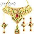 De lujo indio kundan chapado en oro conjuntos de joyas de circón rojo atractivo collar choker 3 unids nupcial sistemas de la joyería para las mujeres del partido